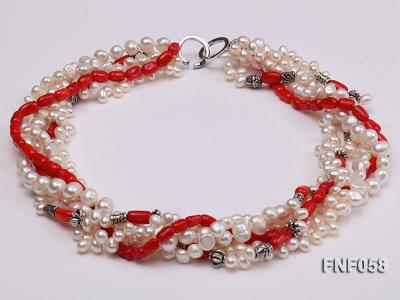 Five-strand 8-9mm Freshwater Pearl and Red Coral Beads Necklace FNF058 Image 1