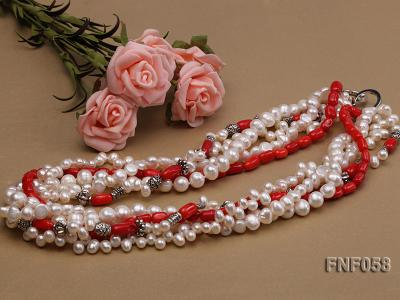 Five-strand 8-9mm Freshwater Pearl and Red Coral Beads Necklace FNF058 Image 3