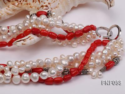 Five-strand 8-9mm Freshwater Pearl and Red Coral Beads Necklace FNF058 Image 4