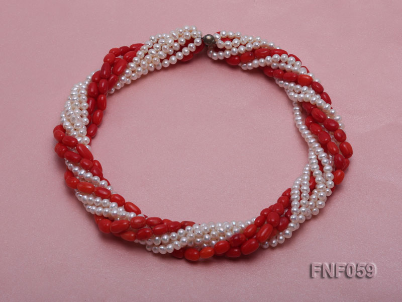 Multi-strand White Freshwater Pearl and Red Coral Pillars Necklace big Image 1