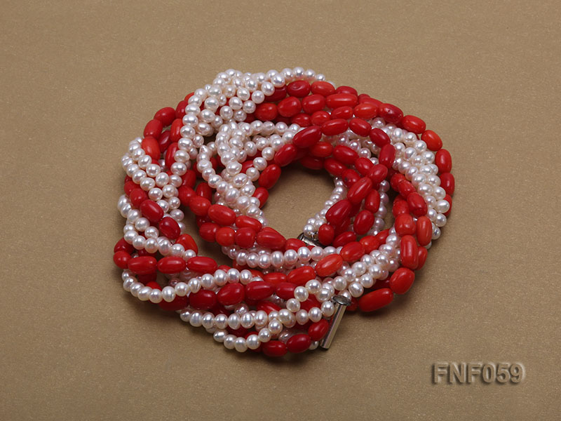 Multi-strand White Freshwater Pearl and Red Coral Pillars Necklace big Image 2