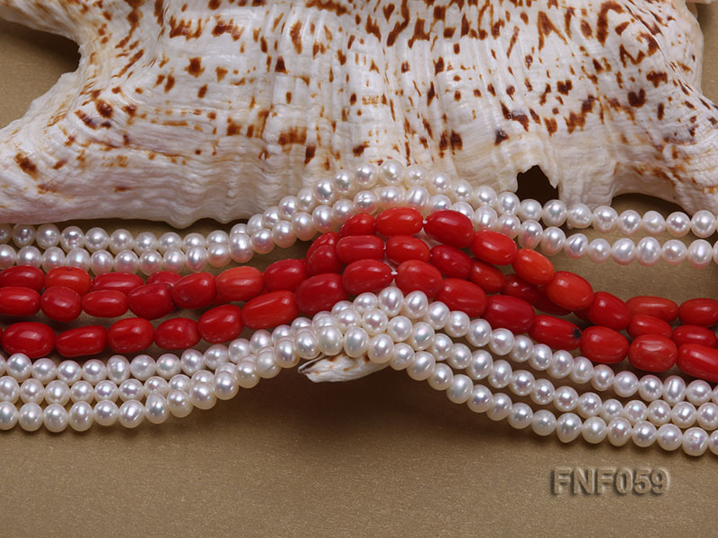 Multi-strand White Freshwater Pearl and Red Coral Pillars Necklace big Image 4