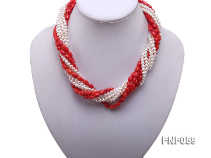 Multi-strand White Freshwater Pearl and Red Coral Pillars Necklace big Image 5