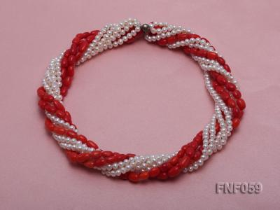 Multi-strand White Freshwater Pearl and Red Coral Pillars Necklace FNF059 Image 1