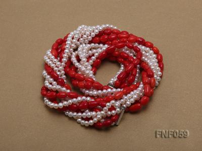 Multi-strand White Freshwater Pearl and Red Coral Pillars Necklace FNF059 Image 2