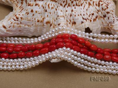 Multi-strand White Freshwater Pearl and Red Coral Pillars Necklace FNF059 Image 4