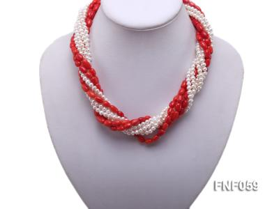 Multi-strand White Freshwater Pearl and Red Coral Pillars Necklace FNF059 Image 5