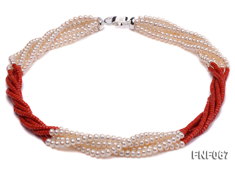 Five-strand 5-6mm Freshwater Pearl and Red Coral Beads Necklace big Image 1