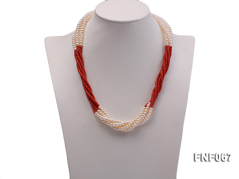 Five-strand 5-6mm Freshwater Pearl and Red Coral Beads Necklace big Image 2