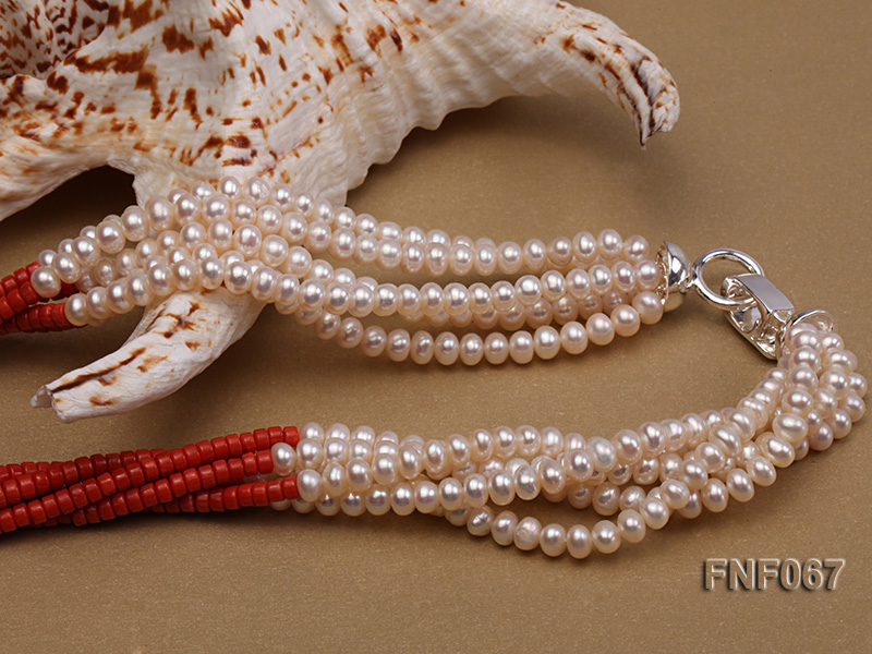 Five-strand 5-6mm Freshwater Pearl and Red Coral Beads Necklace big Image 3