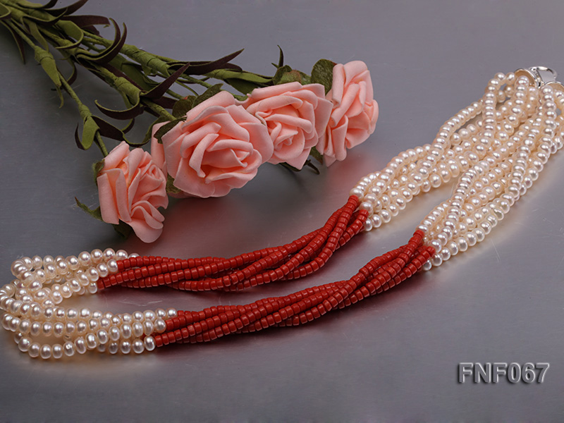 Five-strand 5-6mm Freshwater Pearl and Red Coral Beads Necklace big Image 4