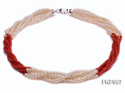 Five-strand 5-6mm Freshwater Pearl and Red Coral Beads Necklace FNF067 Image 1