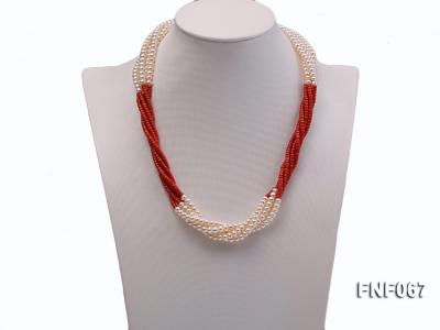 Five-strand 5-6mm Freshwater Pearl and Red Coral Beads Necklace FNF067 Image 2