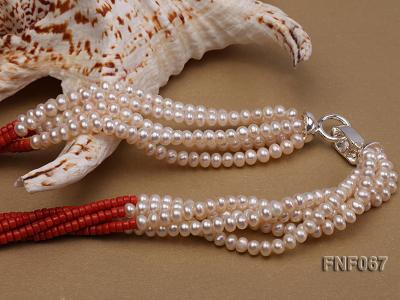 Five-strand 5-6mm Freshwater Pearl and Red Coral Beads Necklace FNF067 Image 3