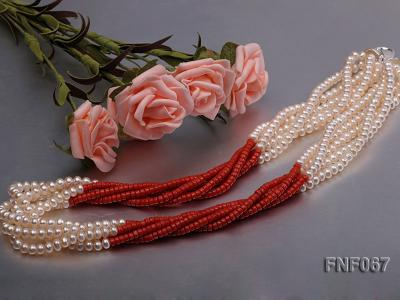 Five-strand 5-6mm Freshwater Pearl and Red Coral Beads Necklace FNF067 Image 4