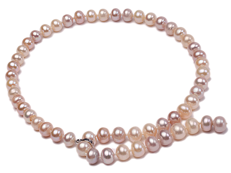 10-11mm natural light color freshwater pearl single necklace  big Image 1