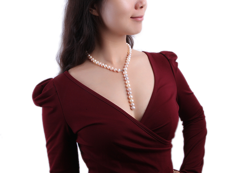 10-11mm natural light color freshwater pearl single necklace  big Image 3