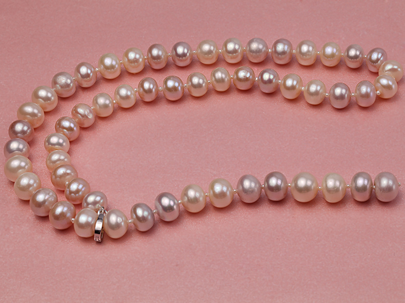 10-11mm natural light color freshwater pearl single necklace  big Image 4