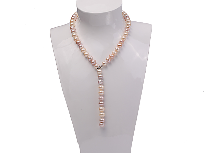 10-11mm natural light color freshwater pearl single necklace  big Image 6