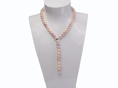 10-11mm natural light color freshwater pearl single necklace  FNA001 Image 6