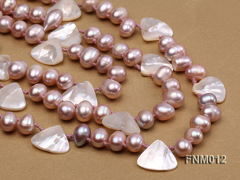 3 strand lavender freshwater pearl and seashell necklace with sterling sliver clasp big Image 2