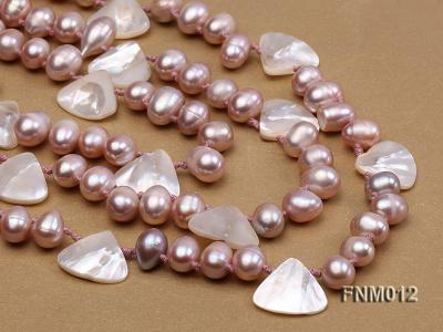3 strand lavender freshwater pearl and seashell necklace with sterling sliver clasp FNM012 Image 2