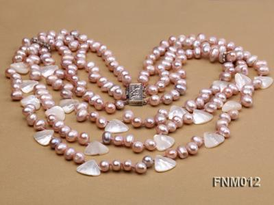 3 strand lavender freshwater pearl and seashell necklace with sterling sliver clasp FNM012 Image 5