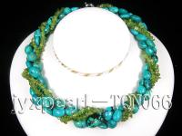 11x12-15x19mm blue turquoise and broken olive pieces multi-strand necklace with white gilded clasp TQN066