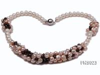 7-9.5mm natural white and pink freshwater pearl with natural garnet necklace FNS023