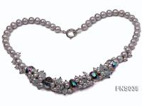 8-9mm grey round freshwater pearl with crystal necklace FNS038