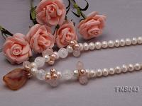 natural 9-10mm white freshwater pearl with rose quartz and agate necklace FNS043