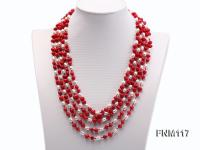 5 Strand White Freshwater Pearl and Red Coral Necklace FNM117