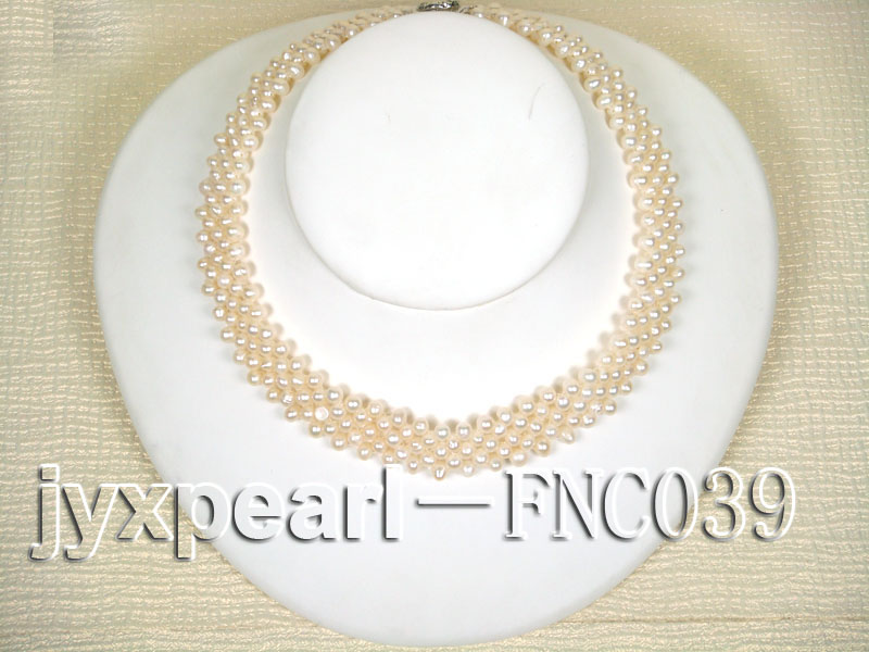 Five-row 5mm White Rice-shaped Freshwater Pearl Choker Necklace big Image 1