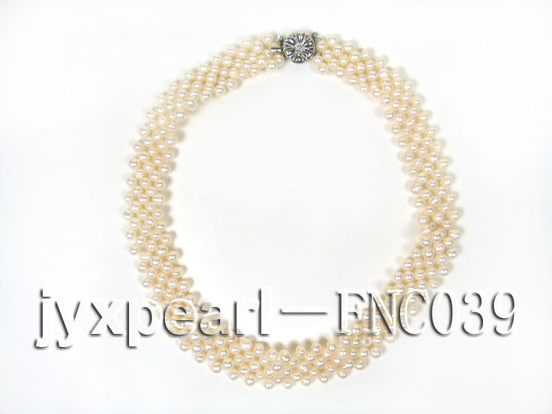 Five-row 5mm White Rice-shaped Freshwater Pearl Choker Necklace big Image 4