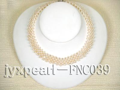 Five-row 5mm White Rice-shaped Freshwater Pearl Choker Necklace FNC039 Image 1