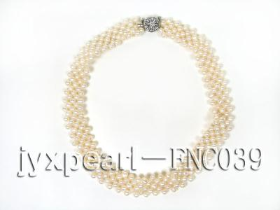 Five-row 5mm White Rice-shaped Freshwater Pearl Choker Necklace FNC039 Image 4