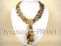 natural citrine and smoky quartz gravely necklace with gemstone clasp FNF661