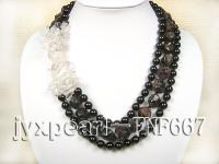 Three-Strand Natrual Garnet and White Crystal Necklace  FNF667