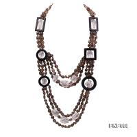 Smoky Quartz, Rock Crystal and Black Agate Necklace FNF668