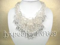 natural out-of-shapde and roung white crystal necklace with cyrstal flower FNF669