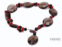 30*40mm oval carved smoky quartz with natural black agate and red coral necklace FNS192