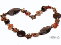 Natural Biwa-Shaped Freshwater Pearl with Cirtine and Tiger-eye Stone Necklace FNS193