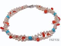Two-strand 6x7mm White Freshwater Pearl Necklace Dotted with Corals and Turquoise Beads FNF726