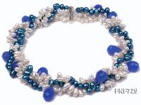 Three-strand Azure and White Freshwater Pearl Necklace Dotted with Light-blue Colored Crystal FNF729
