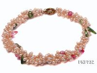 Three-strand 4x5mm Pink Cultured Freshwater Pearl Necklace Dotted with colorful Tooth-shaped Pearl FNF732