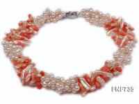 Three-strand White Cultured Freshwater Pearl and Red Coral Necklace FNF735