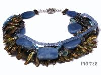Multi-strand Cultured Freshwater Pearl, Blue Crystal and Synthetic Gemstone Necklace  FNF736