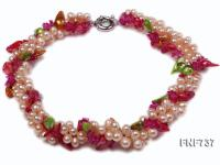 Three-stand 6x7mm Light-pink Cultured Freshwater Pearl and Colored Crystal Necklace FNF737