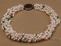 Five-strand 6x7mm White Freshwater Pearl Necklace Dotted with Malaysian Jade Beads FNF738