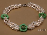Four-strand 5x7mm White Cultured Freshwater Pearl Necklace with Green Flower-shaped Coral Circle FNF740